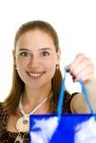 A mulher dá o presente Imagem de Stock Royalty Free