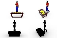 mulher 3d com coleções do conceito da caixa de dinheiro com Alpha And Shadow Channel Fotos de Stock