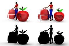 mulher 3d com coleções do conceito do ícone da maçã com Alpha And Shadow Channel Imagem de Stock