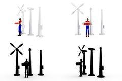 mulher 3d com coleções do conceito do moinho de vento com Alpha And Shadow Channel Fotos de Stock Royalty Free