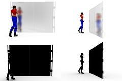 mulher 3d com coleções fechados do conceito da porta com Alpha And Shadow Channel Imagem de Stock