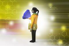 mulher 3d com conceito da nuvem Fotos de Stock