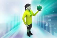 mulher 3d com maçã Fotos de Stock