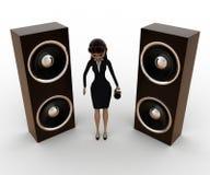 mulher 3d com o orador grande da música e o conceito do mic Imagens de Stock