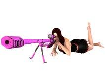 mulher 3D com rifle de atirador furtivo Fotografia de Stock