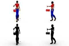 a mulher 3d eu posso coleções do conceito com Alpha And Shadow Channel Foto de Stock Royalty Free