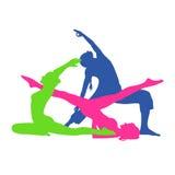 mulher da aptidão, ícones de Pilates, ioga, ilustração do vetor ilustração do vetor