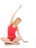 Mulher da aptidão que faz o pose da meditação da ioga Imagens de Stock