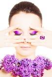 Mulher da beleza com composição colorida Fotografia de Stock Royalty Free