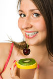 Mulher da beleza com fruta Imagens de Stock Royalty Free