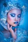 Mulher da beleza do inverno Composição da menina do Natal Fotos de Stock