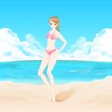 Mulher da beleza na praia Fotos de Stock Royalty Free
