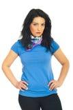 Mulher da beleza no t-shirt azul em branco Fotografia de Stock Royalty Free