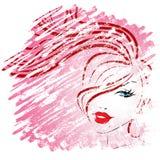 Mulher da beleza que mostram o cuidado facial e atrativo ilustração royalty free