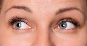 Mulher da cara com olhos e pestanas fotografia de stock