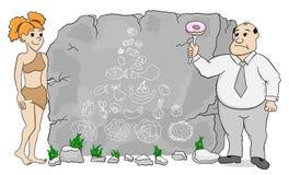 A mulher da caverna explica a dieta do paleo usando uma pirâmide de alimento tirada no sto Imagens de Stock