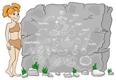 A mulher da caverna explica a dieta do paleo usando uma pirâmide de alimento tirada no sto Fotografia de Stock