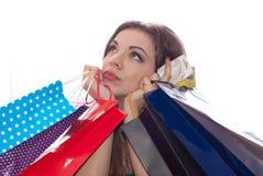 Mulher da compra de Shopaholic Fotos de Stock Royalty Free
