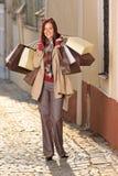 Mulher da compra do equipamento do outono elegante com sacos Imagem de Stock Royalty Free