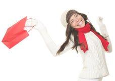 Mulher da compra do Natal com saco do presente Fotos de Stock Royalty Free