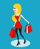 Mulher da compra guardando muita o saco de compras Fotos de Stock