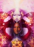 Mulher da deusa da pintura bonita com pássaro phoenix Fotografia de Stock Royalty Free