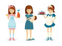 A mulher da dona de casa remove a poeira, alimentações da criança, prepara o alimento ilustração royalty free
