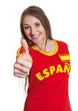 Mulher da Espanha que mostra o polegar acima imagens de stock