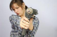 Mulher da ferramenta de potência Fotografia de Stock Royalty Free