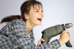 Mulher da ferramenta de potência Fotos de Stock Royalty Free