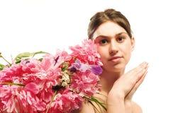 Mulher da flor fotografia de stock royalty free