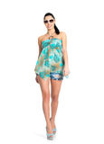Mulher da forma no vestido verde isolado Imagens de Stock