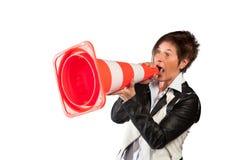 Mulher da gritaria Fotos de Stock