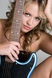 Mulher da guitarra imagens de stock