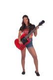 Mulher da hippie que guarda uma guitarra Imagem de Stock Royalty Free