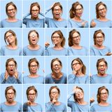 Mulher da Idade Média, colagem diferente das emoções sobre o fundo azul fotografia de stock