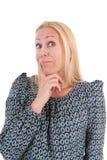 Mulher da idade madura que olha acima imagem de stock