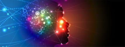 A mulher da inteligência artificial com cabelo gosta da rede do neurônio Fundo da Web da tecnologia Concentrado virtual ilustração royalty free