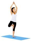 Mulher da ioga do pose da árvore imagens de stock
