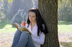 Mulher da leitura com maçã fotografia de stock royalty free