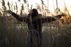 Mulher da liberdade e da felicidade do sorriso no mais forrest é enjoyin Foto de Stock