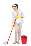 Mulher da limpeza da primavera Imagem de Stock