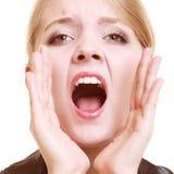Mulher da mulher de negócios que chama para a ajuda Problema no trabalho Imagem de Stock Royalty Free