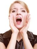 Mulher da mulher de negócios que chama para a ajuda Problema no trabalho Fotografia de Stock Royalty Free
