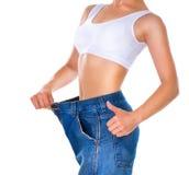 Mulher da perda de peso Fotos de Stock Royalty Free