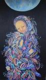 Mulher da pintura com bebê maternidade Imagem de Stock Royalty Free