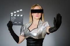 Mulher da tecnologia em futurista Fotos de Stock Royalty Free