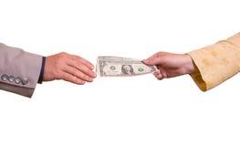 Mulher, dando o dinheiro ao homem imagens de stock