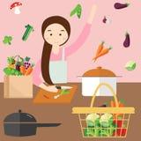 Mulher das mamãs que cozinha ingredientes do vegetal da cozinha ilustração stock