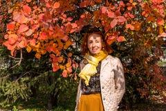 Mulher das pessoas de 55 anos no parque do outono com folhas coloridas Fotos de Stock